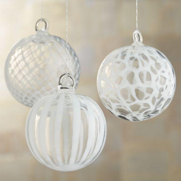 White Art Glass Ball Ornaments