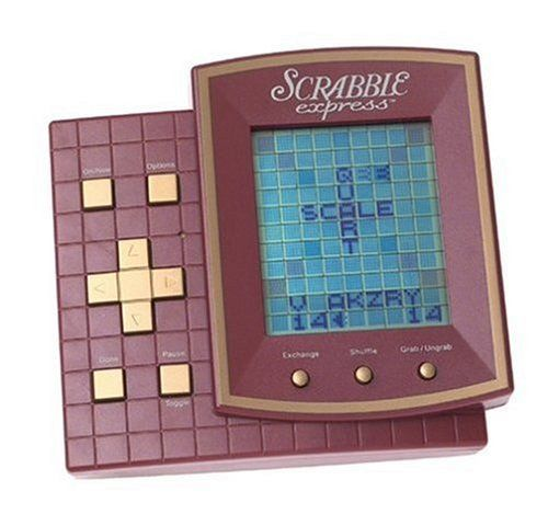 "Scrabble Express Handheld by Toys. $175.00. Features four different Scrabble games, 9 skill levels, a searchable dictionary with more than 100,000 words, built-in scorekeeper and letter shuffler. A take-everywhere version of the classic crossword game. Includes 3 ""AAA"" batteries. Amazon.com                This electronic handheld version of Scrabble, the classic word game, will help long train commutes or plane journeys pass more quickly. With four games to choose from (two ..."