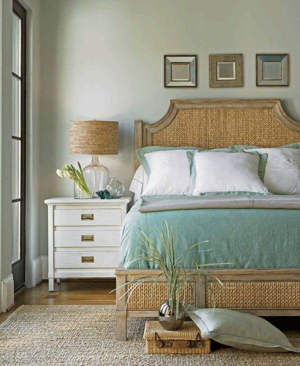 Coastal style generally uses a soft color palette and texture shines in beach style decorating. Think rattan, thick woven rugs, or distressed furniture pieces. This bedroom showcases both a beach color scheme and layered textures.