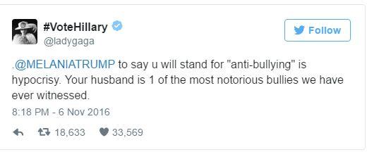 Lady Gaga Calls Out Melania Trump on Anti-Bullying 'Hypocrisy' - http://viralfeels.com/lady-gaga-calls-out-melania-trump-on-anti-bullying-hypocrisy/
