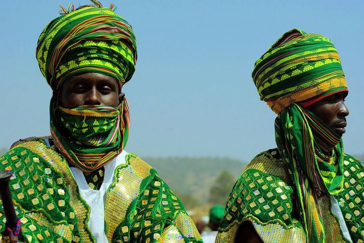"""This photograph shows 2 tribesmen of the Hausa people, some of whom President F. John Kennedy indirectly referenced in his inaugural address when he referred to the famous limerick that begins with the line """"There was a young lady of Niger."""" (See comments below for the limerick's historical context.)"""