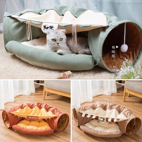 Pet Tunnel Bed House Cat Sleeping Bed With Ball Cat Funny Long Tunnel Play Toy House For Cat Warm House Wish Toy House Sleeping In Bed Cat Sleeping