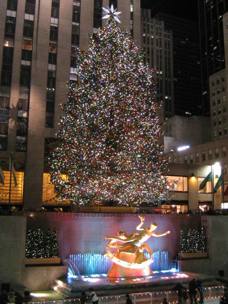 Rockerfeller center at Christmas time Annual family