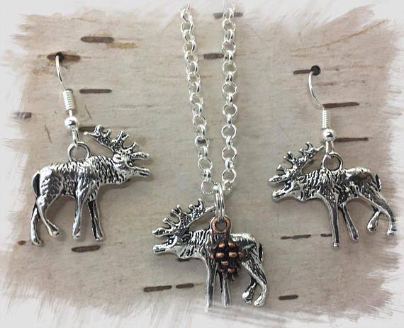 Moose Earrings and  20 inch Silver Plated Necklace Set for
