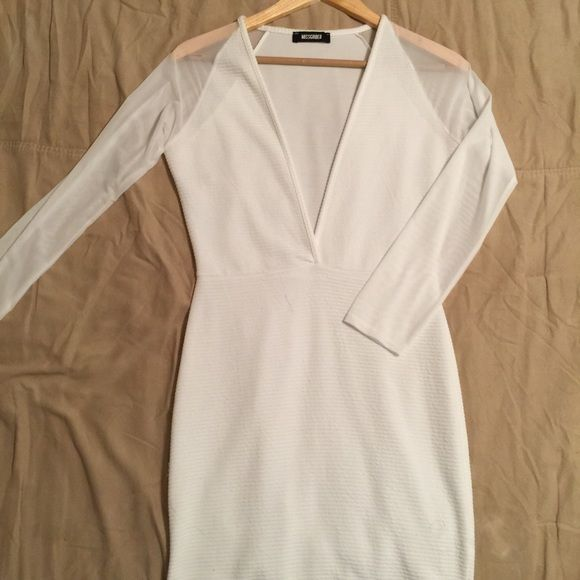 White Missguided Dress White Low Cut Missguided Dress With Mesh Sleeves. *Only Worn Once* Missguided Dresses