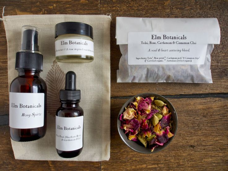 Limited Edition // Rose Inspired Remedy Set.  From the left clockwise; Rose hydrosol spritz, sample jar of Nurture mosituriser, herbal tea blend of tulsi, rose, cardamom  cinnamon and rose petal,  hawthorn berry  cardamom elixir.