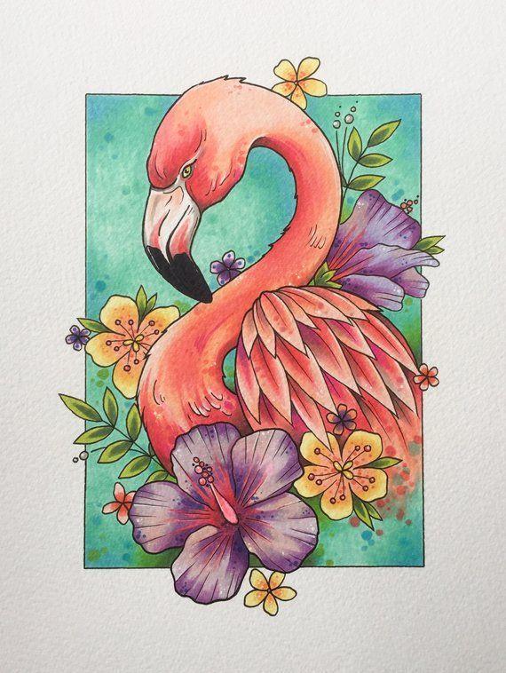 Flamingo print, tattoo print, flamingo decor, gifts for women, flamingo gifts, tattoo design, wall art, watercolor painting – Tiere