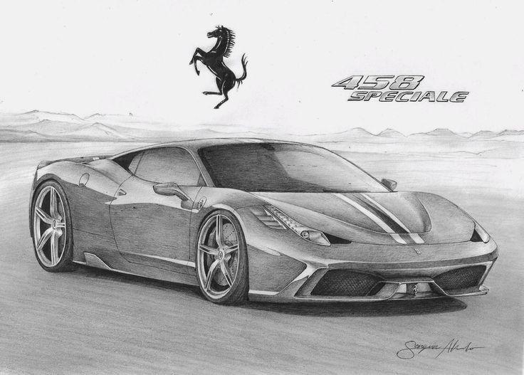 Disegno a penna, Ferrari 458 Italia Speciale