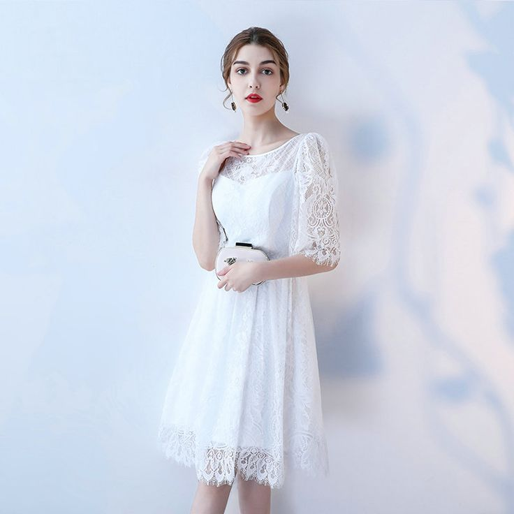 Unique Arabic White Lace Cocktail Dresses 2017 Sexy Ivory Prom Gowns Scoop Half Sleeve Zipper Knee. Click visit to buy
