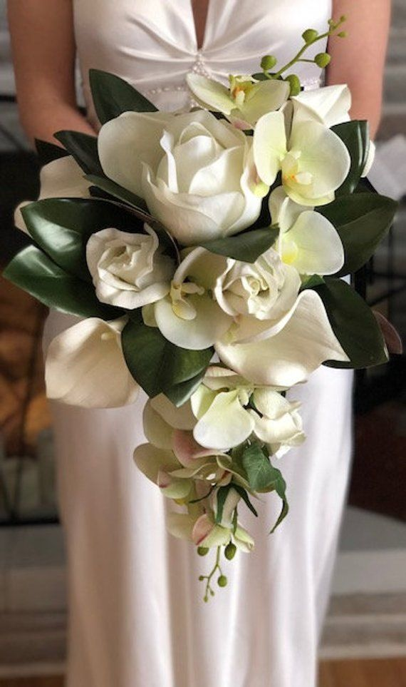 Real Touch Wedding Bouquet White Magnolia Rose Orchid Bridal
