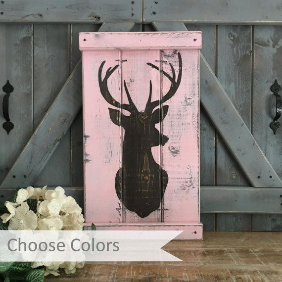 rustic girl's nursery, Pink Camo, Rustic Nursery Decor, Deer Head Silhouette, pink… trendy family must haves for the entire family ready to ship! Free shipping over $50. Top brands and stylish products