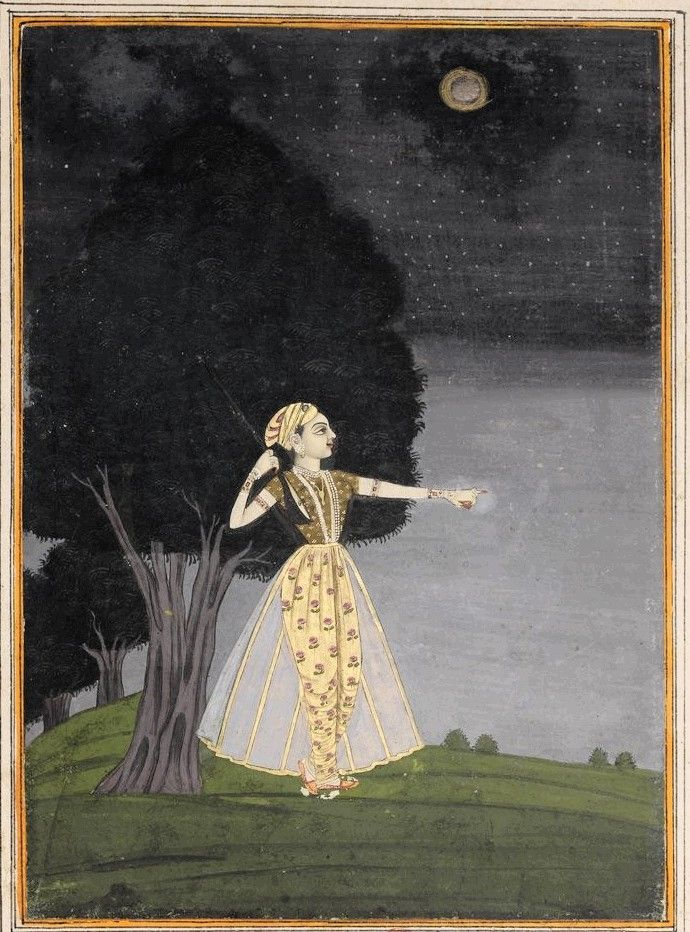 Ragini playing the veena under the moonlight by a lake. India