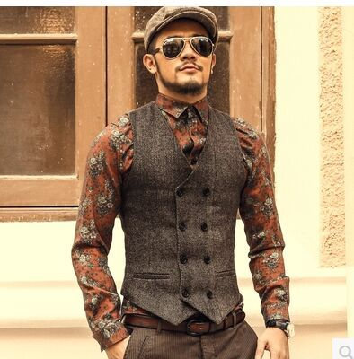 New Mens Slim Double Breasted Woolen Waistcoat V Neck Solid Color Sleeveless Jacket Dark Grey/Light Grey /Khaki Waistcoat J577-in Vests & Waistcoats from Men's Clothing & Accessories on Aliexpress.com | Alibaba Group