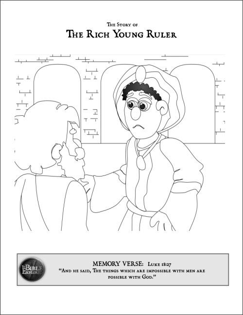jesus and the rich young ruler coloring sheet - Google Search