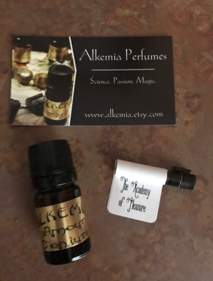 Alkemia Perfume Oil, Conjure in amber bottle, The Academy of Pleasure sample with Alkemia business card, neversaydiebeauty.com