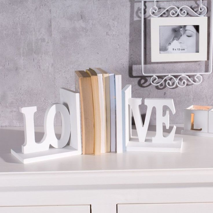 Podpórki na książki Love, komplet 2szt. białe kpl.