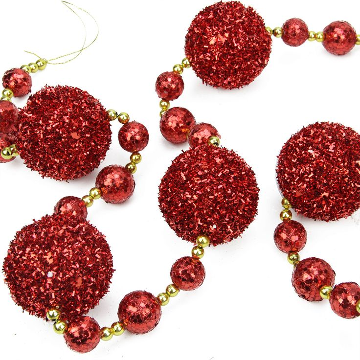 "68"" Red and Gold Beaded and Glittered Christmas Tinsel Ball Garland"