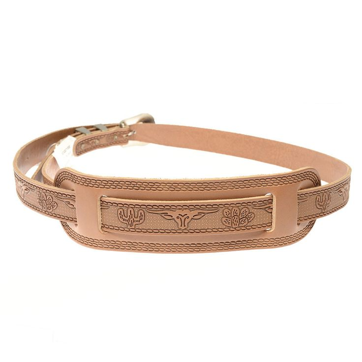 """- True Western Leather Strap - Die Cut Longhorns and Cacti - Fully Adjustable Jeweled Buckles & Trim - Top Quality Tanned Guitar Strap - Strap width approx. 1"""" with 49"""" to 56"""""""