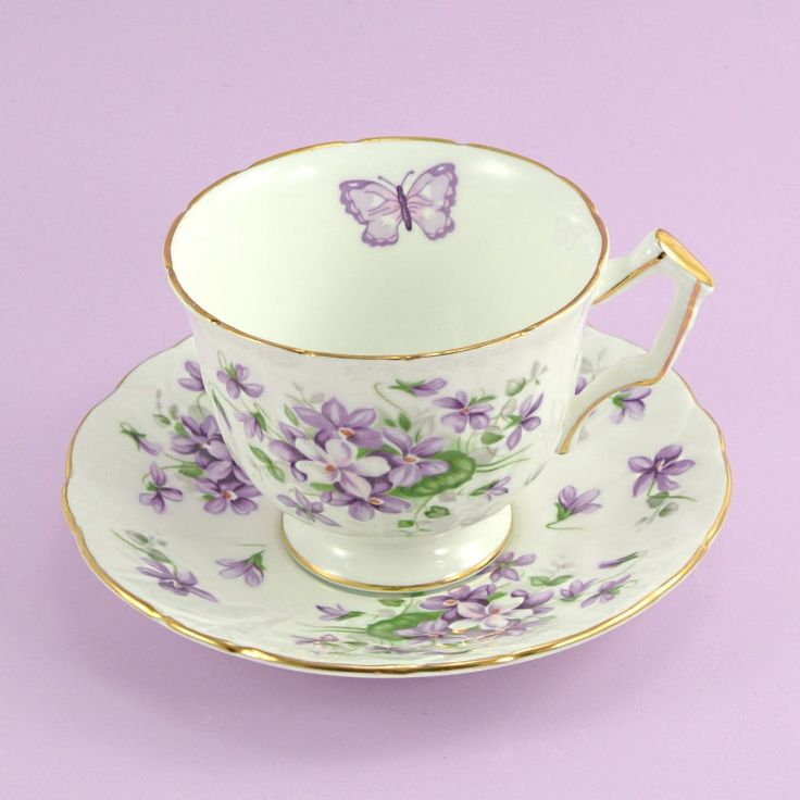 Vintage Aynsley Tea Cup and Saucer Violets Butterfly Bone China