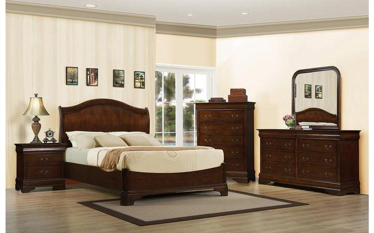 Gwyneth King Cherry Bedroom Set – My Furniture Place