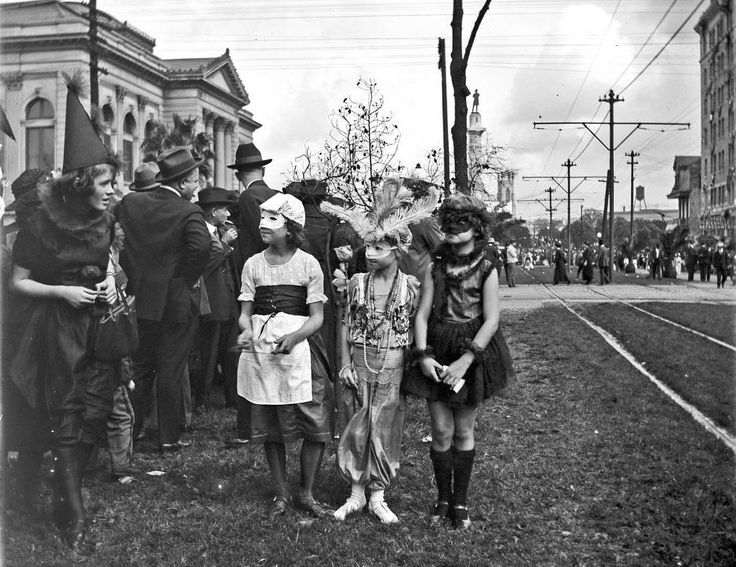 Mardi Gras day 1921, on St. Charles Ave., New Orleans, LA