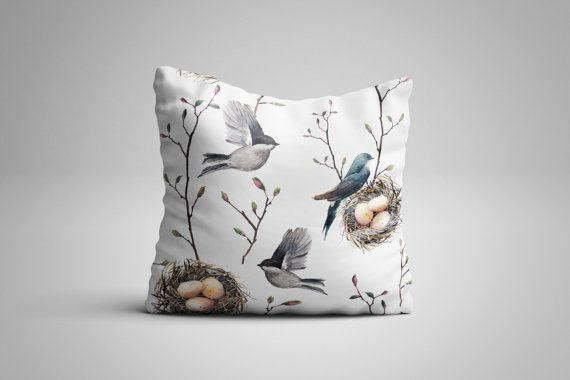 Nesting Birds Cushion. 12 x 12 inch Cushion by NJsBoutiqueCo