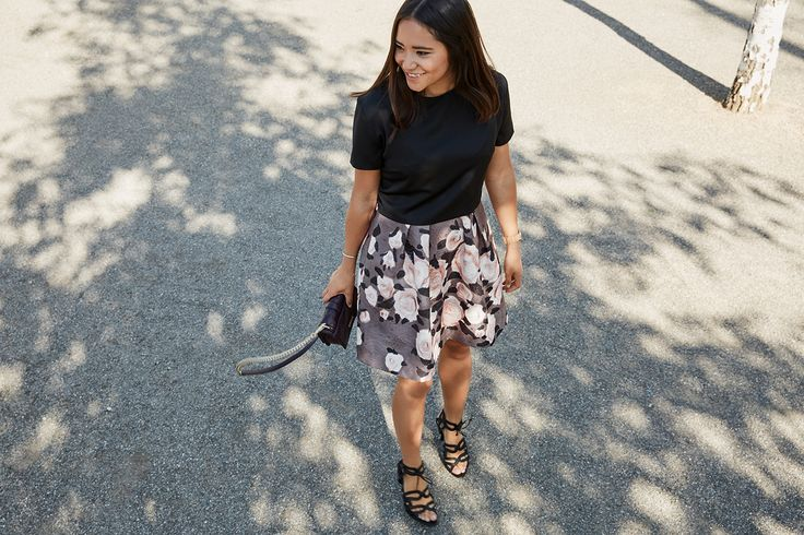 ANINA-LINA in black and blush rose - summer gown - print mix and match