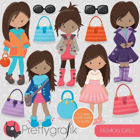 80% OFF SALE Fashion girls clipart for by Prettygrafikdesign