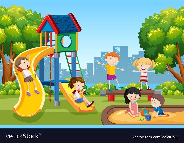 Kids playing on playground Royalty Free Vector Image ...
