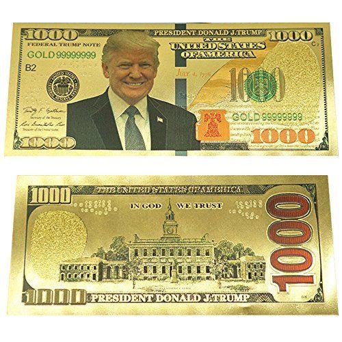 donald trump 1000 dollar bill banknote 24k gold plated gold foil