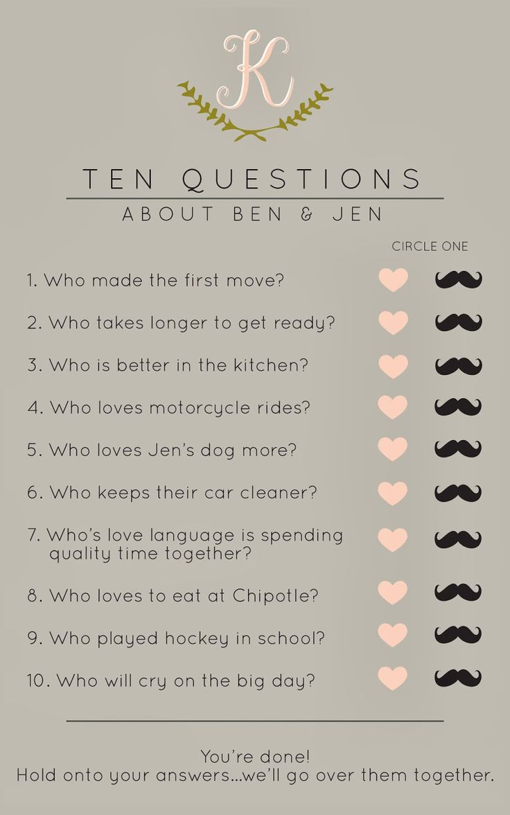 Bridal shower game ten questions about the couple cute for Bathroom designs games