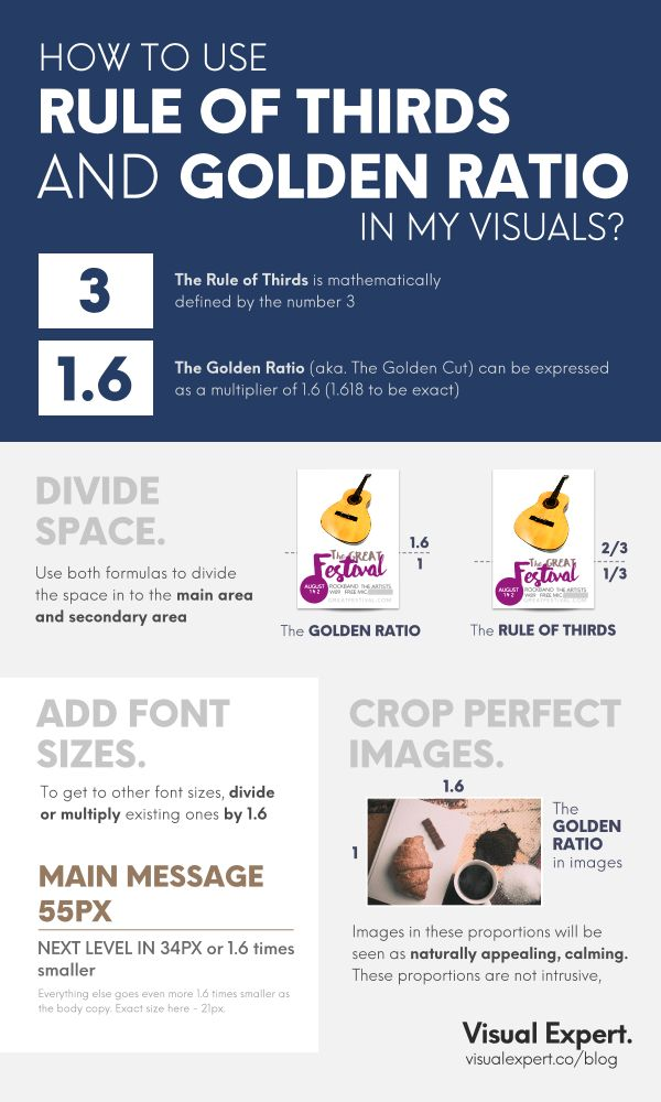 How to use Rule of Thirds and Golden Ratio in your visual content?  Make the basic layout design for posters. Use font sizes correctly and crop perfect images with these rules   Pin it... or Share it Visual communication. Marketing. Advertising. Tips for businesses. Marketing advice and tips.