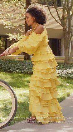 Zoey's yellow Beyonce dress on Grown-ish