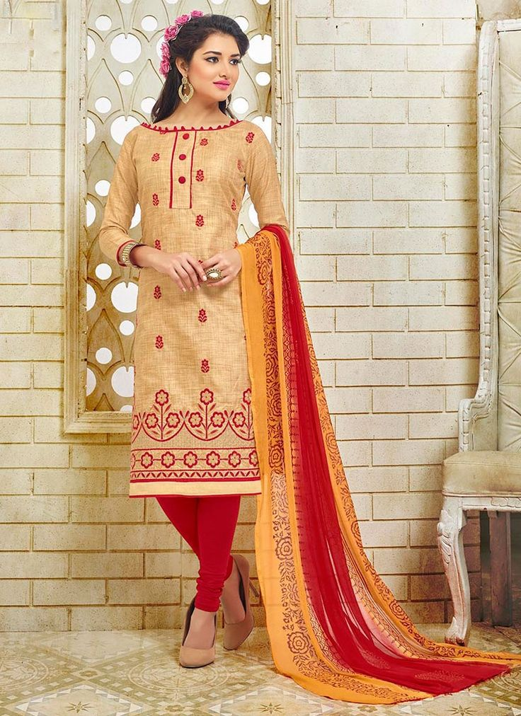 Buy Modernistic Silk Beige Churidar Suit