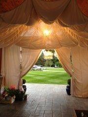 Setting up a parachute at my daughters wedding.. Terri Brush , chandelier, parachute, wedding , decor