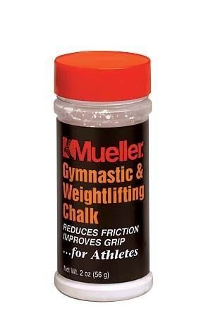 Mueller Gymnastic & Weightlifting Chalk 2 oz. Shaker - Retail Pk - great for gymnasts & climbers by Mueller Sports Medicine. $8.99. Apply liberal amount of chalk to hands prior to workout or activity.. Helps keep hands dry.. Powdered form of magnesium carbonate for use by gymnasts, weightlifters, and climbers to help reduce hand friction from contact with equipment. Gymnastic & Weightlifting Chalk Powdered form of magnesium carbonate for use by gymnasts, weightlifters, and cli...
