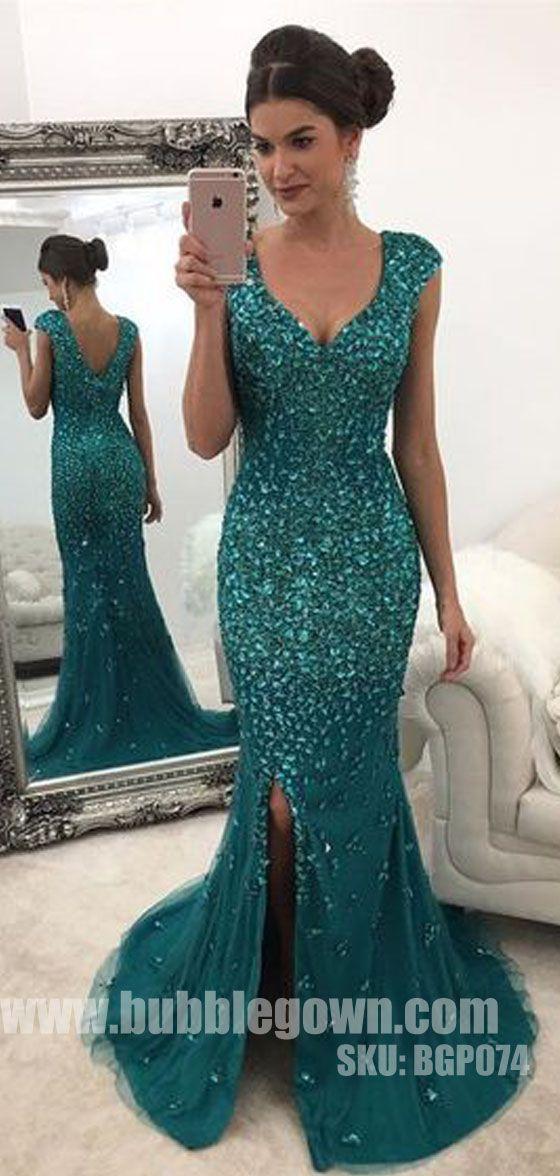 Luxurious Heavy Beaded Sparkle Side Split Mermaid Evening Long Prom Dress, BGP074 #promdress #promdresses #longpromdress #longpromdresses #eveningdress