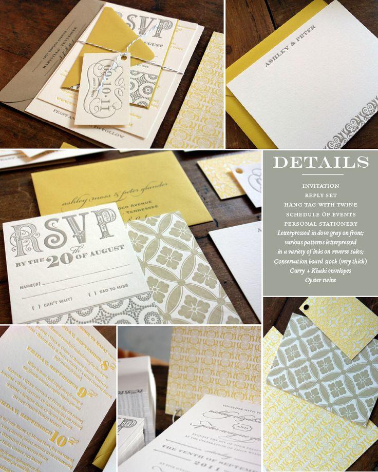 Gorgeous Letterpress invitation suite