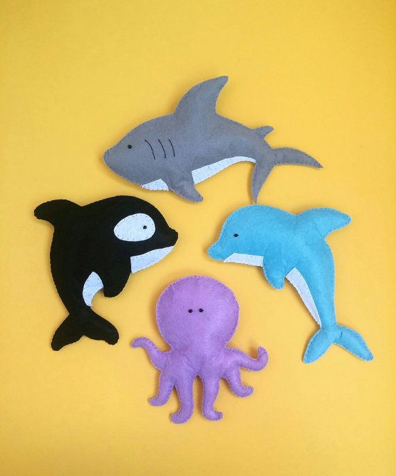 ocean animals felt toy sea Dolphin Orca whale Shark by ZooToys