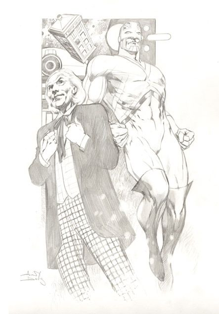 This is a sketch of William Hartnell Doctor Who and Captain Britain, drawn by Alan Davis.
