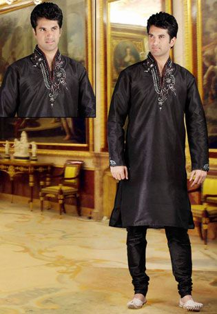 Contempory Black Banarasi Brocade & Dupion Silk Readymade Kurta with Churidar