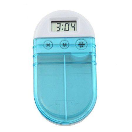 (マサリン)Masaling  薬ケース シンプル ピルケース 習慣薬箱 薬入れ   時限 注意  携帯 便利  お薬  電子タイミング 二段分割  楕円