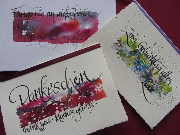 Kartenset,Kalligraphie,3Karten mit Umschlag | Kalligrafie ...
