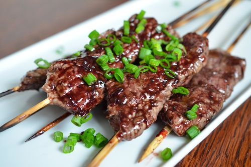 Smashed Steak Skewers with Cherry Barbecue Sauce - just writing this makes