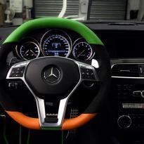 Mercedes cclass 204 c63 amg orange  green leather seats 7