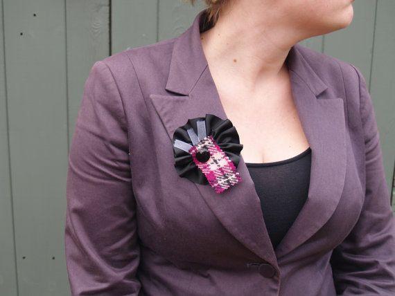 Black Ribbon Brooch with Pink Tartan Harris Tweed, Silver Organza Ribbon and a Vintage Button