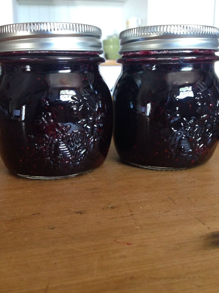 Homemade mixed berry and vanilla bean jam.