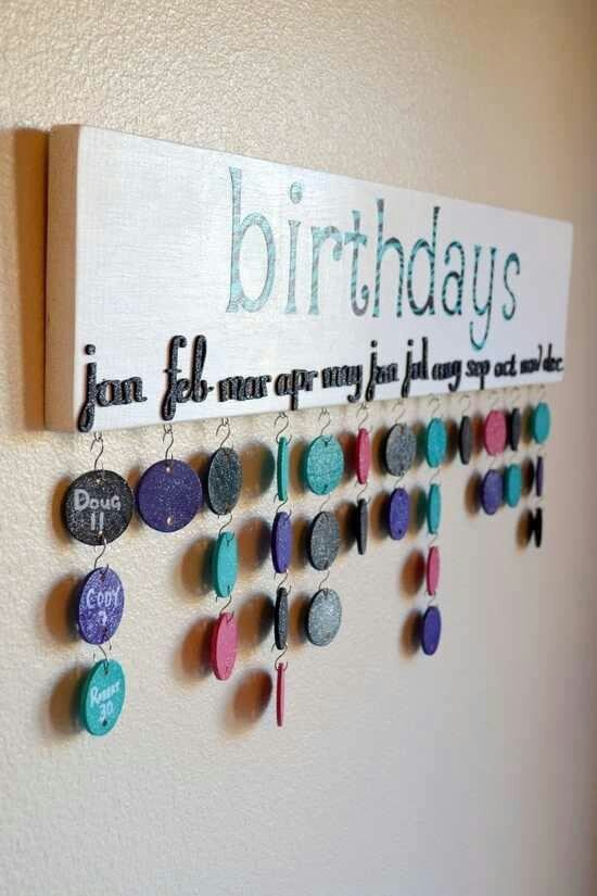 Birthday reminders just paint wood chips or bottle caps put names on the and the day of their birthdays. Put months on a flat board and hang were you can see..