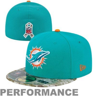 New Era Miami Dolphins Salute To Service On-Field 59FIFTY Fitted Performance Hat - Aqua