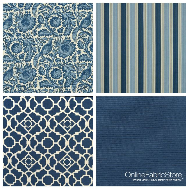 Mixing patterns --Waverly Fabric #blue #stripe #quatrefoil